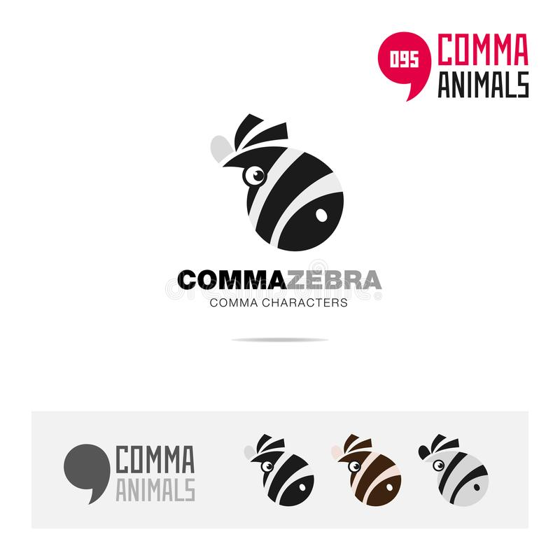 斑马动物概念象集合和现代品牌身份商标模板和根据逗号的app标志签字 向量例证