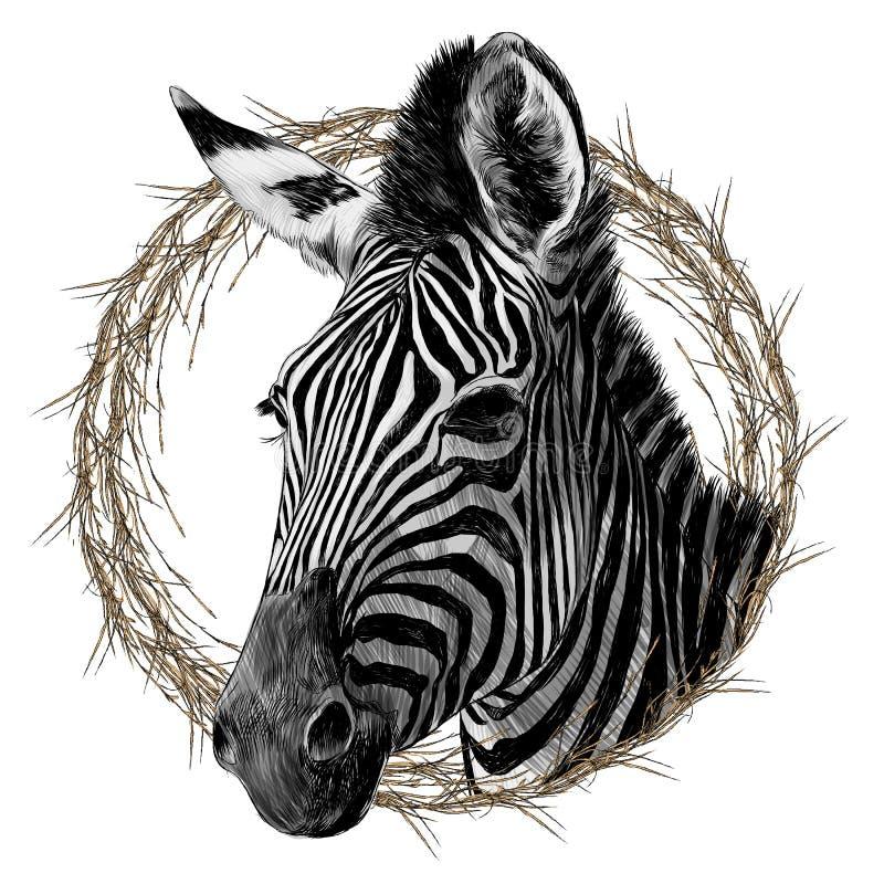 斑马头被构筑的剪影向量图形 库存例证