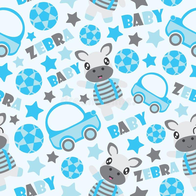 斑马孩子包装纸的男孩和玩具动画片例证的无缝的样式 库存例证