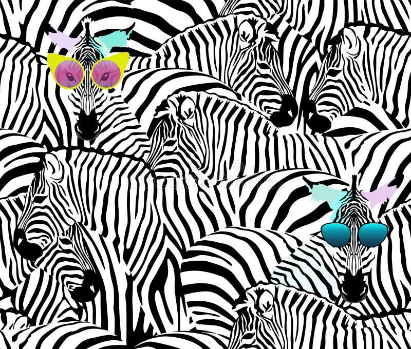 斑马抽象例证牧群,动物无缝的样式 皇族释放例证
