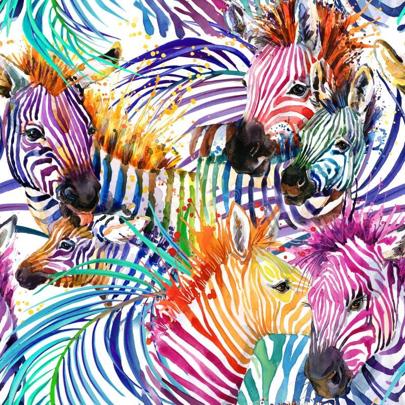 斑马无缝的样式 热带自然水彩例证 皇族释放例证