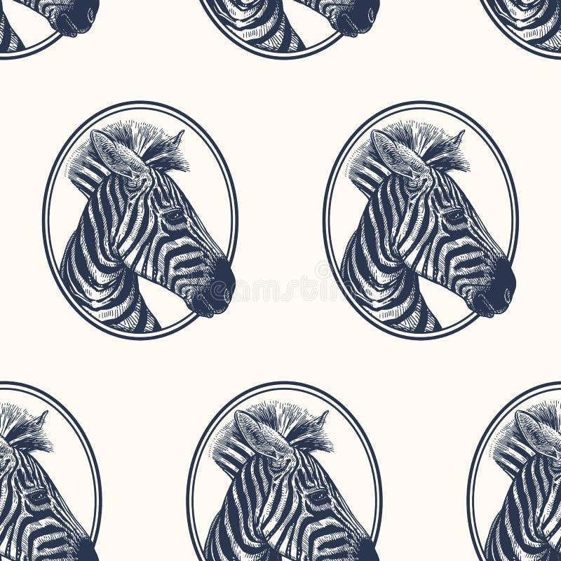 斑马 与非洲的动物的无缝的样式 野生生物手图画  传染媒介例证艺术 黑色白色 老板刻 向量例证