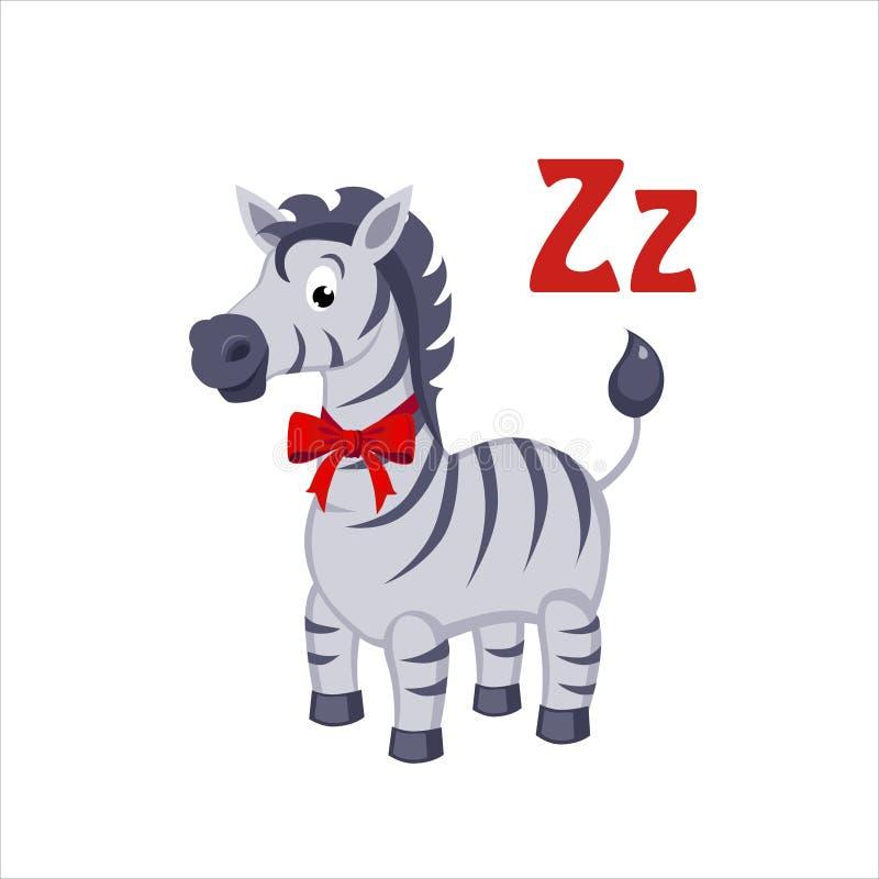 斑马 滑稽的字母表,动物传染媒介例证 向量例证
