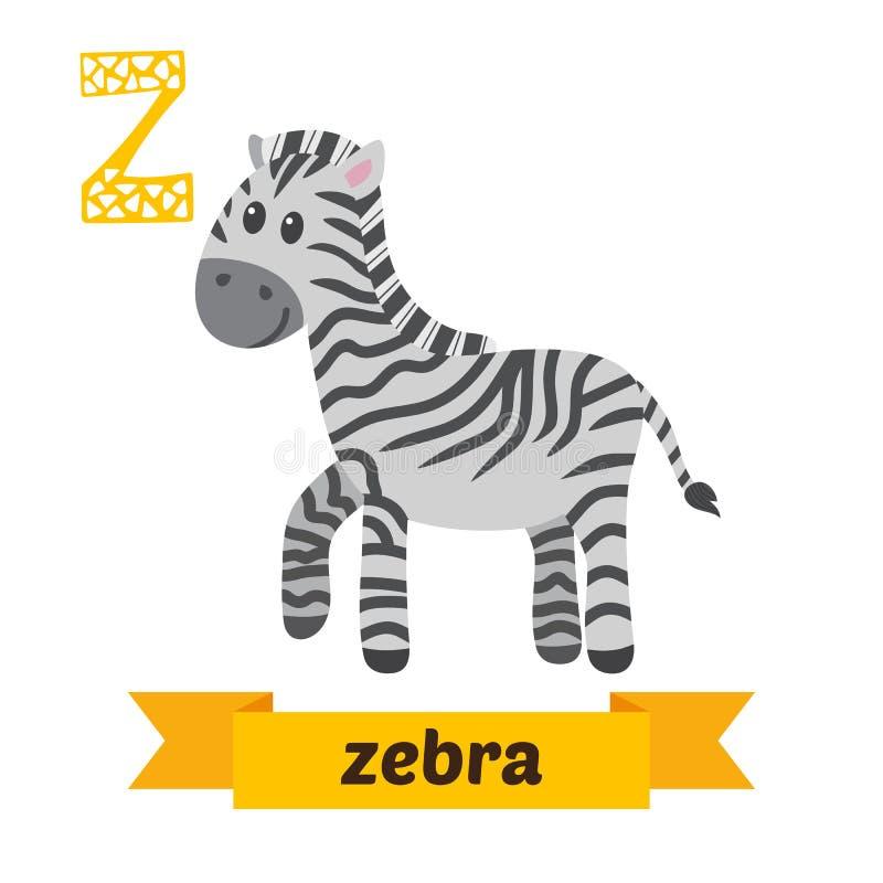 斑马 Z信件 逗人喜爱的在传染媒介的儿童动物字母表 滑稽 皇族释放例证