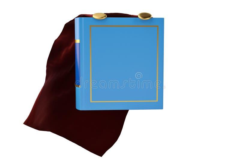 斗篷和书在白色背景3D例证 向量例证