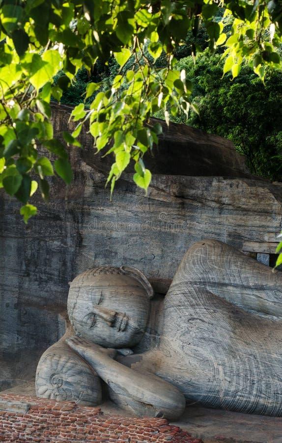 斜倚的菩萨, Gal Vihara, Polonnaruwa,斯里兰卡 免版税库存照片