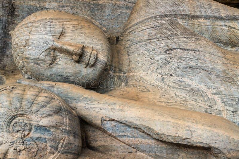 斜倚的菩萨,Gal Vihara,波隆纳鲁沃,联合国科教文组织世界遗产名录站点,北中省,斯里兰卡 免版税库存照片