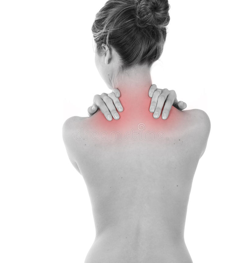 斜方肌和项疼痛 库存照片