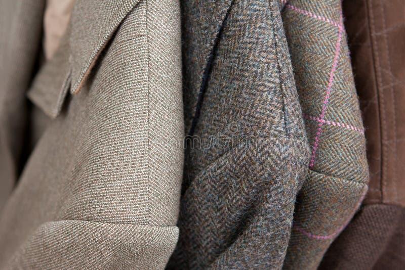 斜纹软呢夹克细节特写镜头 库存照片