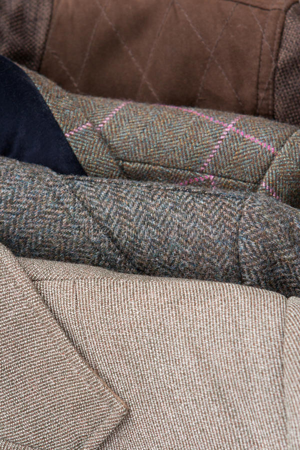 斜纹软呢夹克细节特写镜头 库存图片