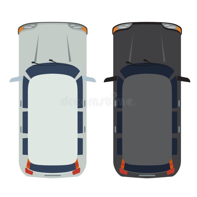 斜背式的汽车汽车顶视图 白色和黑现实和平的颜色样式设计传染媒介 向量例证