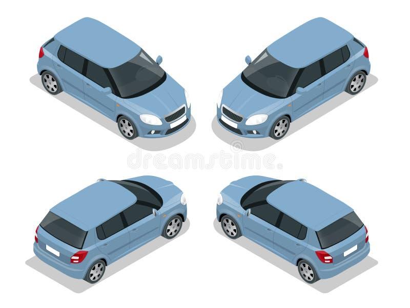 斜背式的汽车汽车 平的3d传染媒介等量例证 优质城市运输象 向量例证