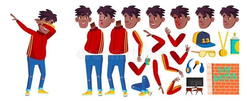 斥责争斗歌手男孩孩子传染媒介 男小学生 投反对票 美国黑人 动画儿童创作集合 面孔情感,姿态 库存例证