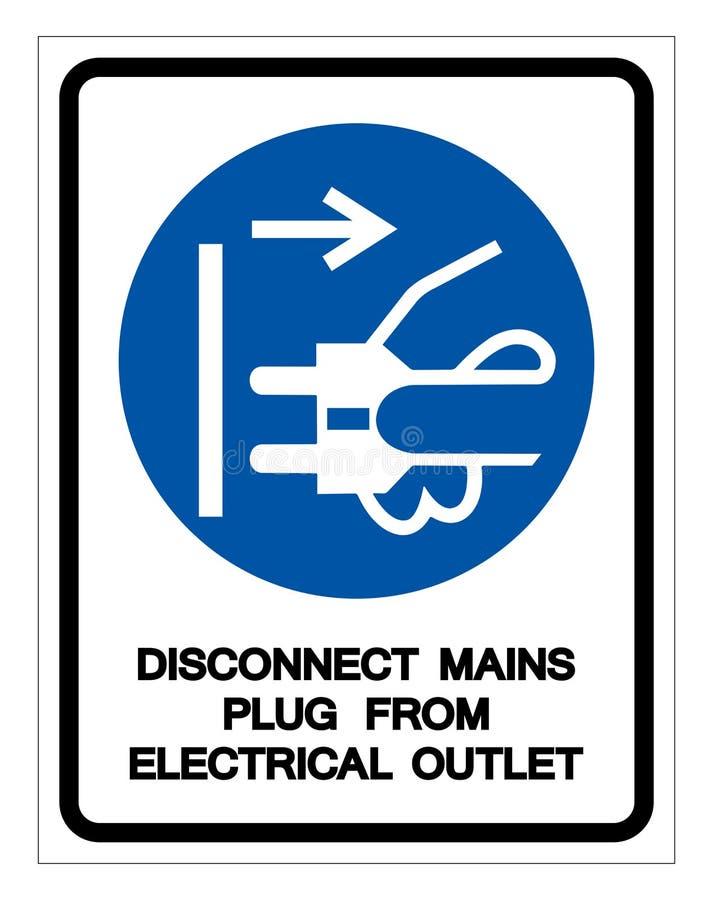 断开主要从电子出口标志标志,传染媒介例证塞住,隔绝在白色背景标签 EPS10 向量例证