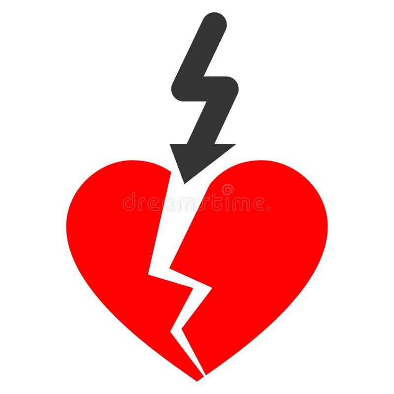 断裂爱心脏平的象 向量例证