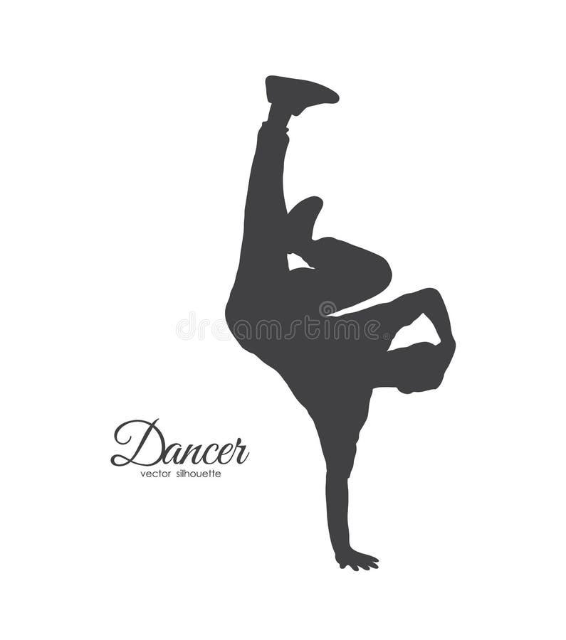 断裂舞蹈家剪影  Hip Hop年轻人跳舞在白色背景的 皇族释放例证