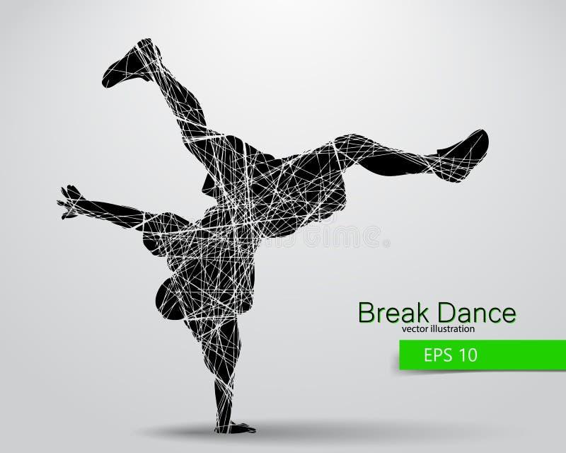 断裂舞蹈家的剪影 库存例证