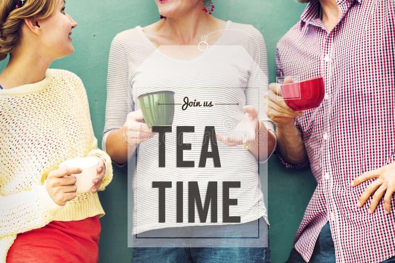 断裂茶咖啡时间放松概念 免版税库存照片