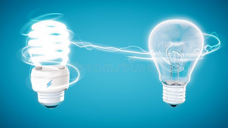断言在现代蓝色背景的电灯泡 库存例证