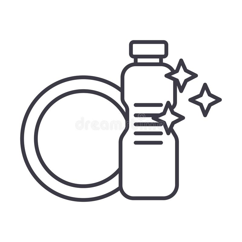 断送洗涤,洗碗盘行为洗涤剂传染媒介线象,标志,在背景,编辑可能的冲程的例证 向量例证