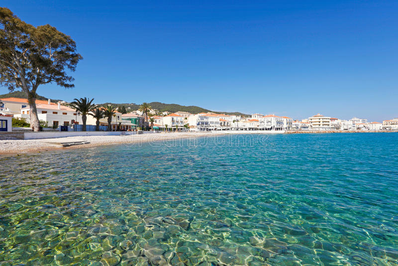斯佩察岛海岛,希腊镇  免版税库存照片