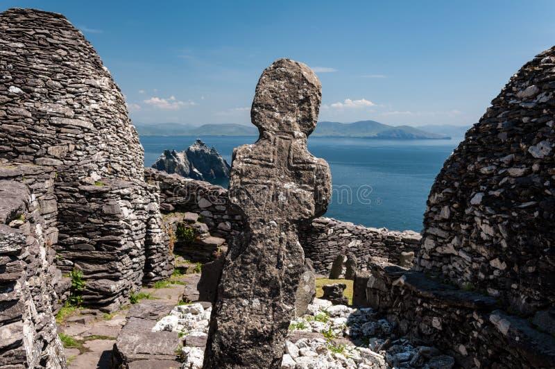 斯凯利格・迈克尔岛,联合国科教文组织世界遗产名录站点,凯利,爱尔兰 星际大战在这个海岛上唤醒场面摄制的力量 图库摄影
