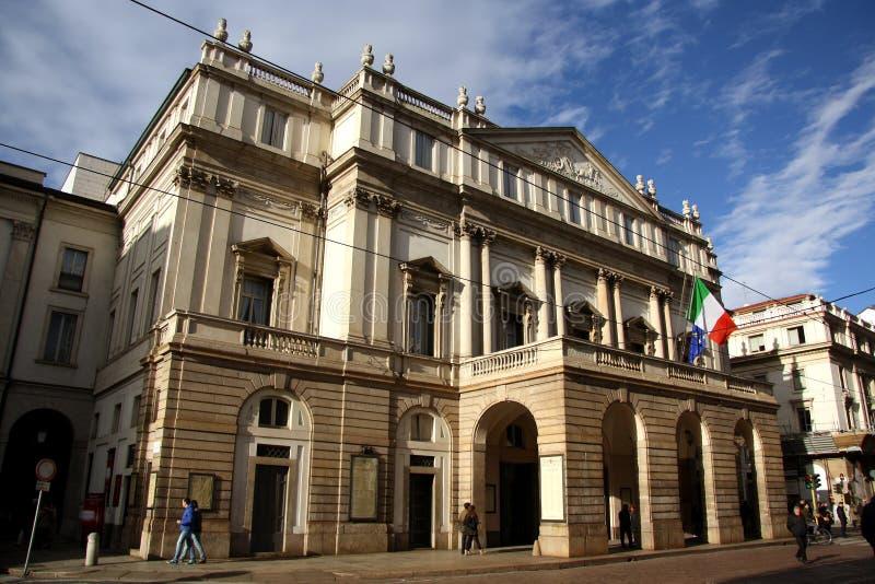 斯卡拉大剧院歌剧院在米兰,意大利 库存照片