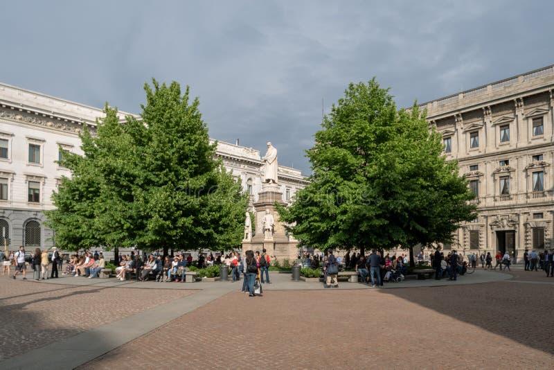 斯卡拉广场,米兰,意大利 免版税库存图片