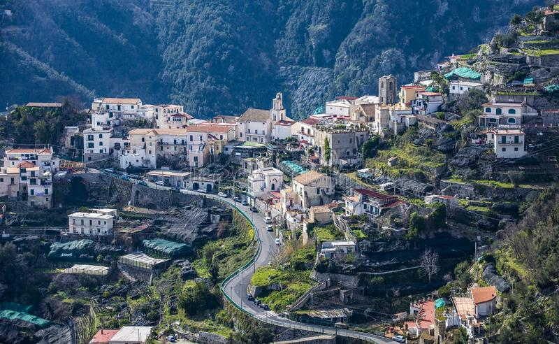 斯卡拉村庄,从阿马尔菲海岸,意大利 库存图片