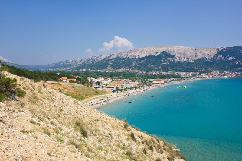 巴斯卡, Krk,克罗地亚海岛  库存图片