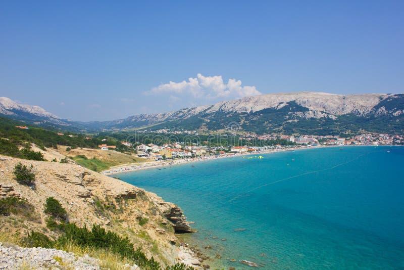 巴斯卡, Krk,克罗地亚海岛 免版税库存照片