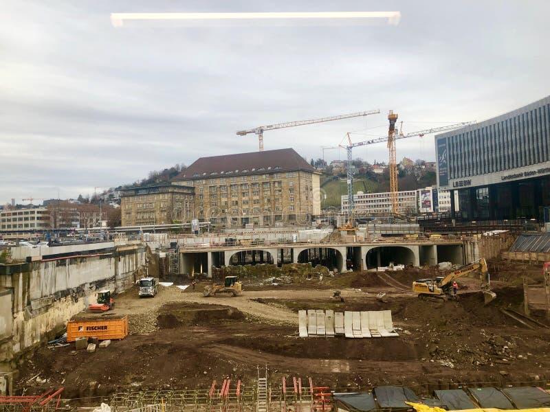 斯图加特总台的建造场所的Stuttgart21铁路项目 库存照片