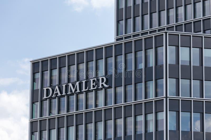 斯图加特,巴登-符腾堡州/德国- 21 08 18 :daimler中央工厂斯图加特德国 免版税库存图片