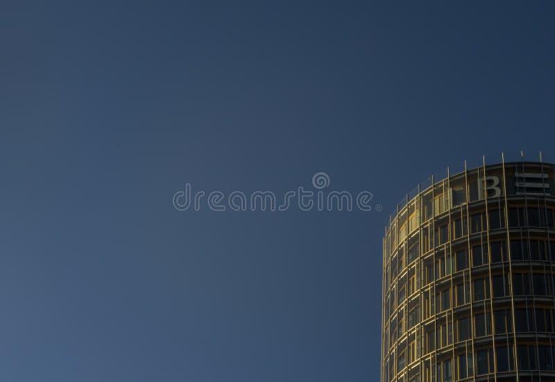 斯图加特,德国- 2月24,2019:欧洲区这是LBBW的一座新,现代办公楼 免版税库存图片