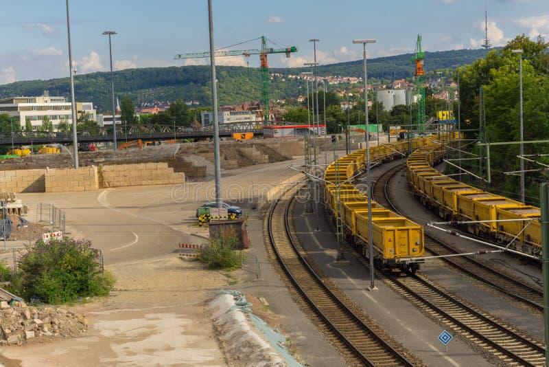 斯图加特,德国- 7月11,2018:Nordbahnhof这是火车站的工业区, 免版税库存照片
