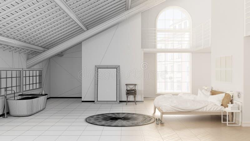 斯堪的纳维亚与卧室和卫生间的顶楼露天场所未完成的项目草稿有浴缸、镶花地板和全景windo的 库存例证