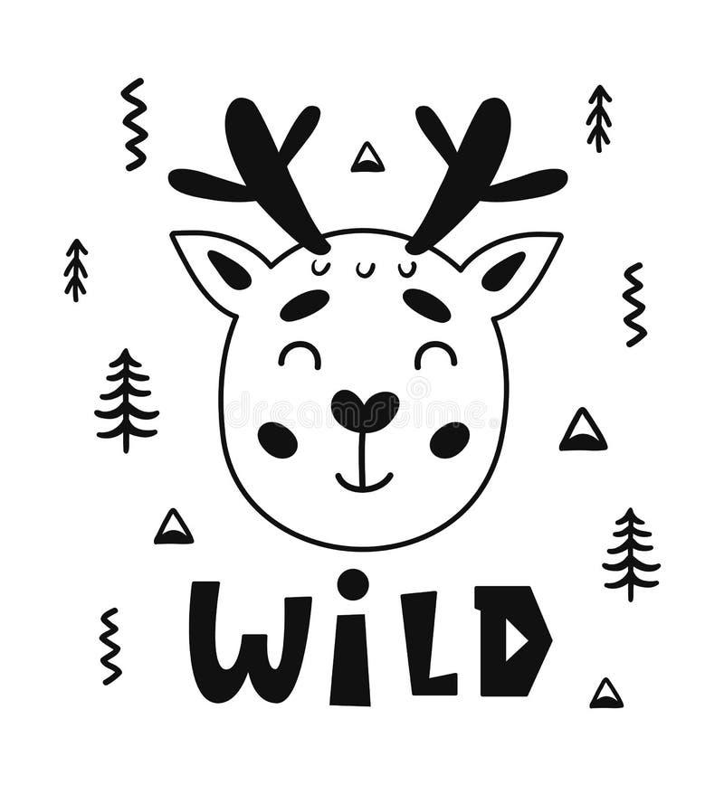 斯堪的纳维亚与逗人喜爱的鹿动物和手拉的信件的样式幼稚海报 库存例证