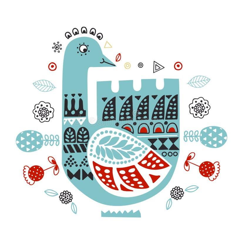 斯堪的纳维亚人,北欧样式 装饰手拉的天鹅-例证-乱画样式 被启发的民间艺术样式 向量例证