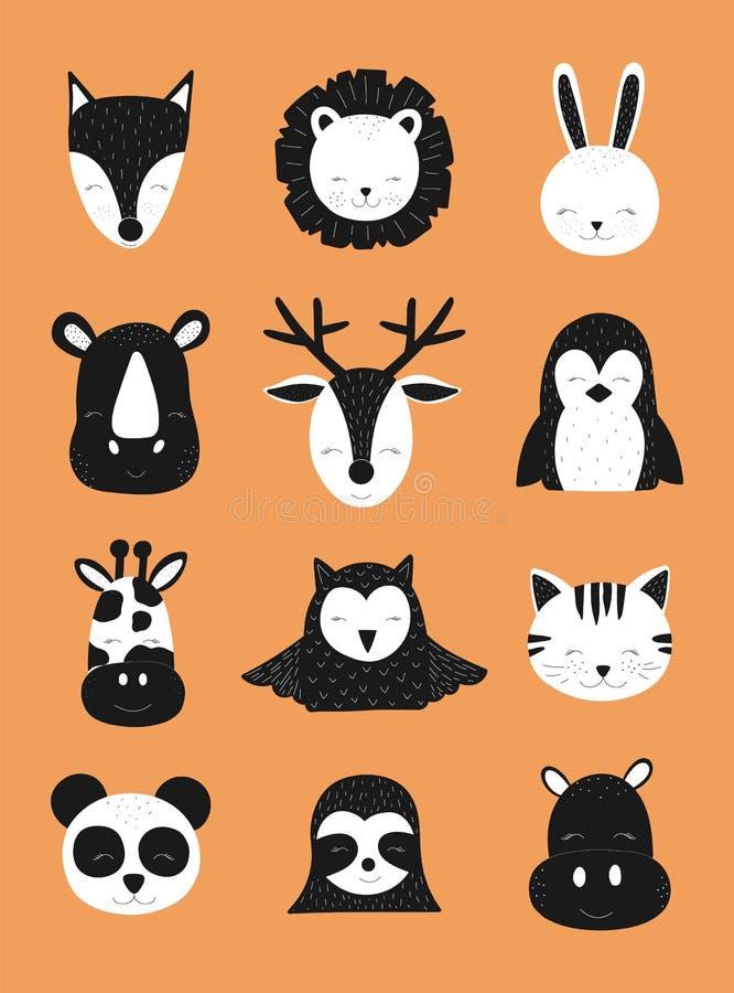 斯堪的纳维亚传染媒介儿童例证 手拉的在橙色背景的婴孩黑白动物 鹿,狐狸,怠惰,rhi 库存例证