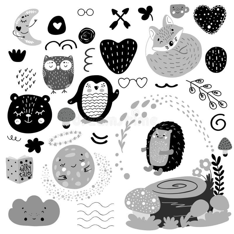 斯堪的纳维亚孩子乱画元素仿造黑白单色集合,狂放的手拉的动物月亮,熊,猬,企鹅, 库存例证