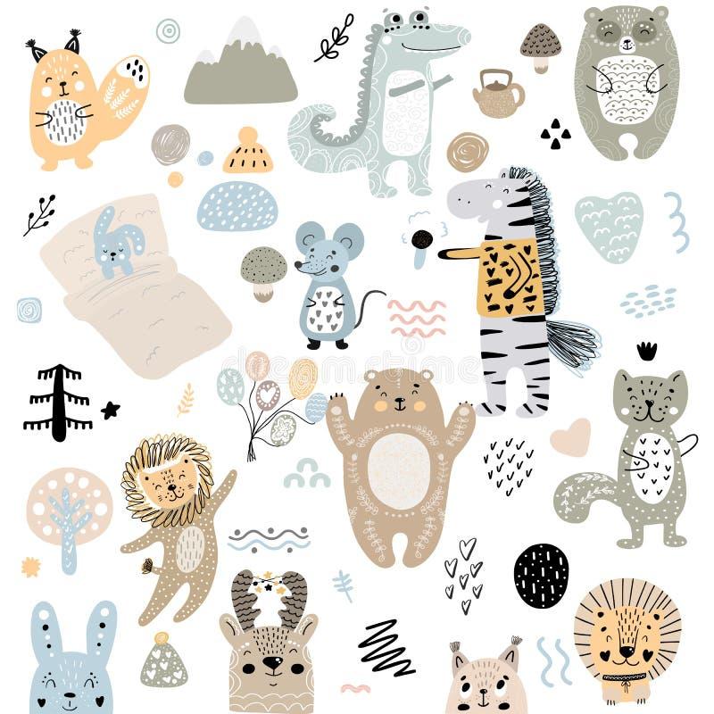 斯堪的纳维亚孩子乱画元素样式套逗人喜爱的颜色野生动物和字符:斑马,熊,鹿,灰鼠,猫,兔子 库存例证