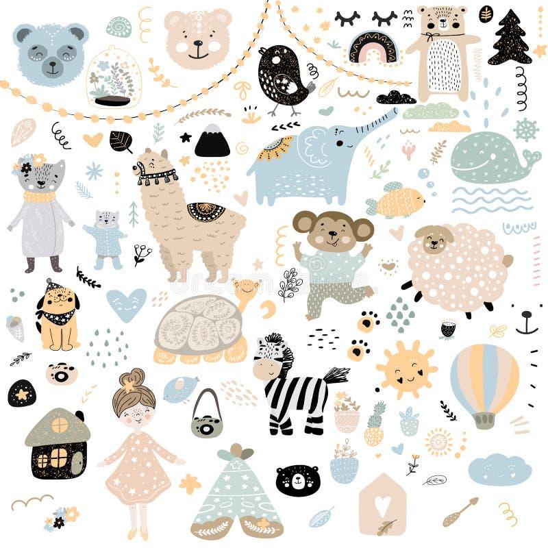 斯堪的纳维亚孩子乱画元素样式设置了颜色野生动物手拉的熊lamma猫的猴子,女孩,乌龟,羊羔,房子, 皇族释放例证