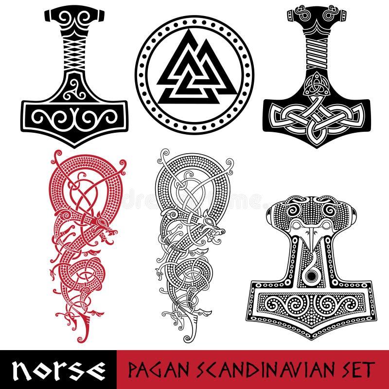 斯堪的纳维亚异教徒设置了-托尔锤击- Mjollnir, Odin标志- Valknut和世界龙Jormundgand com接地地球例证文本 向量例证
