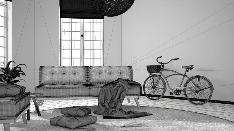 斯堪的纳维亚最低纲领派客厅未完成的项目有大窗口、沙发、扶手椅子和地毯的,现代室内设计 向量例证