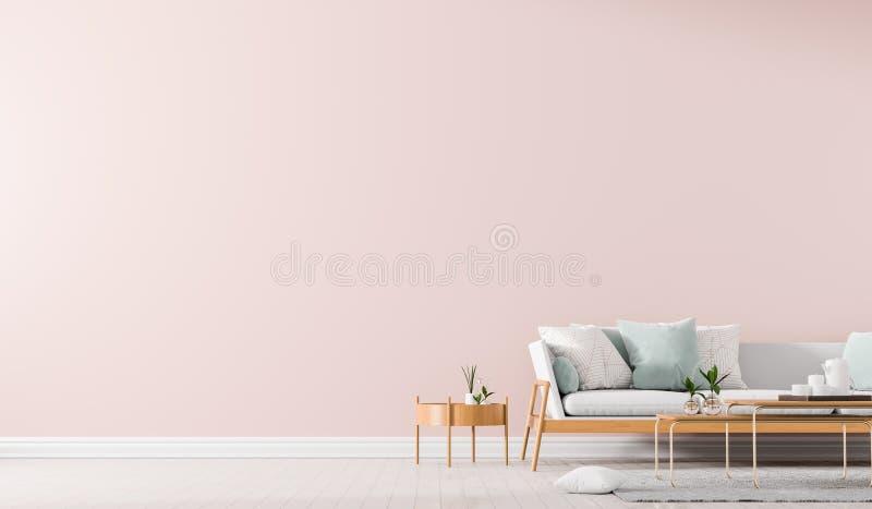 斯堪的纳维亚样式内部与沙发和coffe桌 空的墙壁嘲笑在最低纲领派内部 3d?? 库存例证