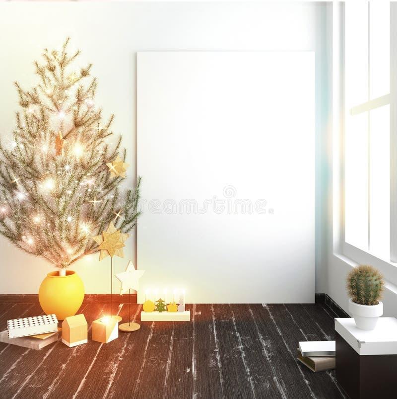斯堪的纳维亚样式现代圣诞节内部与光亮的lig的 向量例证