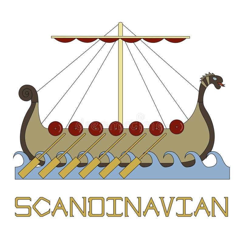 斯堪的纳维亚生活的明亮的例证 船北欧海盗 库存例证