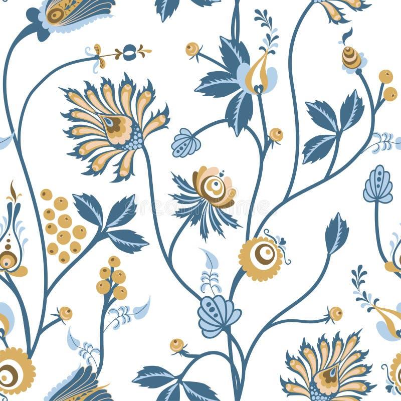 斯堪的纳维亚花卉与幻想纹理的传染媒介无缝的样式与在白色背景的花 向量例证