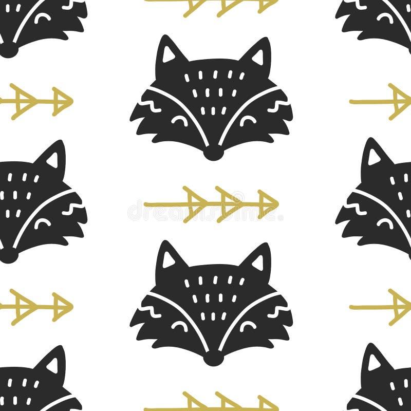 斯堪的纳维亚Fox北欧无缝的样式 手拉的时髦民间艺术装饰背景 向量例证