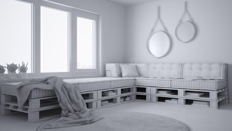 斯堪的纳维亚minimalistic客厅总白色项目有DIY板台沙发的,当代建筑学内部 皇族释放例证